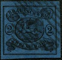BRAUNSCHWEIG 7a O, 1853, 2 Sgr. Schwarz Auf Blau, Kabinett, Gepr. Lange, Mi. 80.- - Brunswick