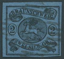 BRAUNSCHWEIG 7b O, 1853, 2 Sgr. Schwarz Auf Hellblau, Nummernstempel 27, Pracht, Mi. (220.-) - Brunswick