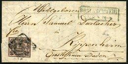 BRAUNSCHWEIG 8b BRIEF, 1857, 3 Sgr. Lebhaftrosa Auf Kleinem Brief Von BRAUNSCHWEIG Nach Kippenheim, Pracht - Brunswick