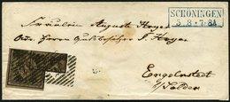 BRAUNSCHWEIG 9a BRIEF, 1857, 5/4 Ggr. Schwarz Auf Graubraun Mit Nummernstempel 37 Von SCHÖNINGEN Auf Brief Nach Engelnst - Brunswick