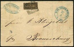 BRAUNSCHWEIG 9a BRIEF, 1857, 2/4 Ggr. Schwarz Auf Graubraun Mit Nummernstempel 47 Von WOLFENBÜTTEL Nach Braunschweig, Se - Brunswick