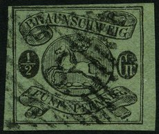 BRAUNSCHWEIG 10A O, 1863, 1/2 Gr. Schwarz Auf Lebhaftgraugrün, Nummernstempel 8, Pracht, Signiert R.F. Engel, Mi. 300.- - Brunswick