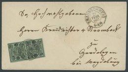 BRAUNSCHWEIG 10A Paar BRIEF, 1867, 1/2 Gr. Schwarz Auf Lebhaftgraugrün Im Senkrechten Paar Mit K2 BRAUNSCHWEIG Auf Dekor - Brunswick