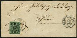 BRAUNSCHWEIG 10A BRIEF, 1866, 1/2 Gr. Schwarz Auf Lebhaftgraugrün Auf Kleinem Ortsbrief Mit K2 BRAUNSCHWEIG, Rückseitige - Brunswick