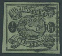 BRAUNSCHWEIG 10A O, 1863, 11/2 Gr. Schwarz Auf Lebhaftgraugrün, Pracht, Signiert Schlesinger, Mi. 300.- - Brunswick