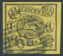 BRAUNSCHWEIG 11A O, 1861, 1 Sgr. Schwarz Auf Lebhaftgraugelb, Nummernstempel 39 (SEESEN), Pracht, Mi. (70.-) - Brunswick