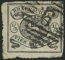 BRAUNSCHWEIG 13A O, 1864, 1/3 Sgr. Schwarz, Nummernstempel 9, Feinst (leichte Durchstichmängel), Gepr. Pfenninger (voll  - Brunswick