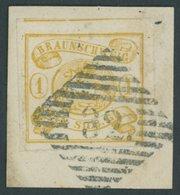 BRAUNSCHWEIG 14A BrfStk, 1864, 1 Sgr. Mittelgelbocker, Durchstochen 16, Mit Teilen Von 2 Nachbarmarken, Nummernstempel 3 - Brunswick