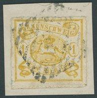 BRAUNSCHWEIG 14A BrfStk, 1864, 1 Sgr. Mittelgelbocker, Durchstochen 16, Prachtbriefstück, Mi. 180.- - Brunswick