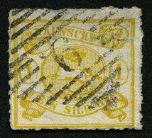 BRAUNSCHWEIG 14B O, 1864, 1 Sgr. Gelbocker, Durchstochen 12, Nummernstempel 9, Feinst (dünne Stelle), Gepr. Lange, Mi. 3 - Brunswick