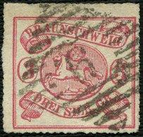 BRAUNSCHWEIG 16 O, 1864, 3 Sgr. Lilarot, Nummernstempel 9, Farbfrisches Kabinettstück, Fotoattest Lange, Mi. (650.-) - Brunswick