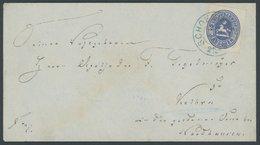 BRAUNSCHWEIG 19 BRIEF, 1866, 2 Gr. Ultramarin Mit Blauem K2 SCHOENINGEN Auf Brief Nach Kelbra Bei Nordhausen, Kabinett,  - Brunswick