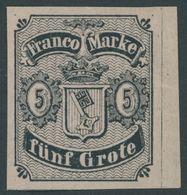 BREMEN 2 *, 1856, 5 Gr. Schwarz Auf Karmingrau, Type II, Mit Rechtem Rand, Falzreste, Pracht - Bremen