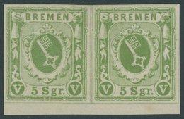 BREMEN 4a Paar *, 1859, 5 Sgr. Gelbgrün Im Waagerechten Paar Mit Unterrand, Linke Marke Ein Brauner Punkt Am Oberrand So - Bremen