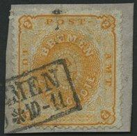 BREMEN 10a BrfStk, 1867, 2 Gr. Dunkelgelblichorange Auf Briefstück, Senkrechter Bug Und Kleine Korrektur, Feinst, Mi. (4 - Bremen