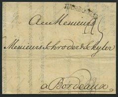 HAMBURG VORPHILA 1754, HAMBOURG, L1 Auf Brief Nach Bordeaux, Pracht - Germany