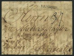 HAMBURG VORPHILA 1768, HAMBOURG, L1 Auf Forwarded-Letter Von Flensburg Nach Bordeaux, Handschriftlich Franco Hamburg, Ag - Germany