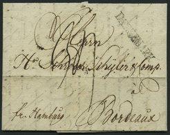 HAMBURG VORPHILA 1791, DAENNEMARK, L1 Auf Brief Von Flensburg Nach Bordeaux, Handschriftlich Fr. Hamburg, Pracht - Germany