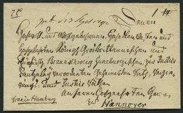 HAMBURG VORPHILA 1792, Interessante Fürstenbriefhülle (nicht Vollständig), Handschriftlich Franco Hamburg Nach Hannover, - Germany