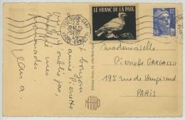 Vignette Le Franc De La Paix + Marianne De Gandon / CP 1949 Toulouse . - Erinnophilie