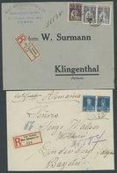 SLG. ALLE WELT 1924/5, 2 Einschreibbriefe Von Portugal Und Argentinien Mit Nummerierten Einschreibzetteln Vom Ausland üb - Stamps