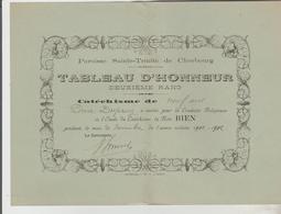 ETUDES TABEAU D'HONNEUR LYCEE DE ROCHEFORT 01/1917 ET TABLEAU D'HONNEUR CATECHISME PAROISSE Ste TRINITE CHERBOURG 11/190 - Diplomi E Pagelle