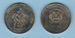 Domenicana Repubblica 1 Peso 1990 100° Descubrimiento Y Evangelizacion - Dominicana