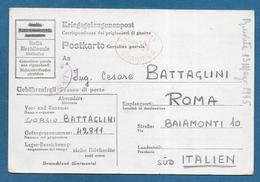 DOUBLE CARD 1945 PRIGIONIERI DI GUERRA KRIEGSGEFANGENENPOST STAMMLAGER X B U.S. ARMY PW EXAMINER PRISONNER OF WAR - Documenti