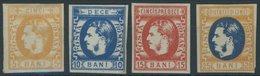 RUMÄNIEN 21-24 **, 1869, 5 - 25 B. Fürst Karl I Mit Backenbart, Falzreste, 4 Werte Etwas Unterschiedlich, Mi. 230.- - Romania