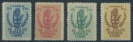 SPANIEN 807-10 *, 1938, Nationale Erhebung, Falzrest, Prachtsatz - Spain