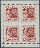 LOKALAUSGABEN VB **, 1937, 30 C. Rot Foyer Du Français Antifasciste ím Postfrischen Kleinbogen (4), Pracht - Spain