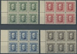 TSCHECHOSLOWAKEI 205-08 **, 1923, 5 Jahre Republik In Sechserblocks Mit Linkem Rand, Postfrisch, Pracht, Mi. 120.- - Czechoslovakia
