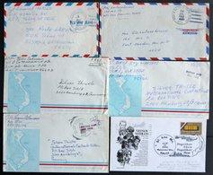 FELDPOST 1966/70, 5 Verschiedene Luftpostbriefe Aus Dem Vietnamkrieg, Nord- Und Südvietnam, Laos Und Kambodscha, Pracht - United States