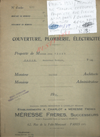 PARIS 1931 MEMOIRE DE TRAVEAUX EXECUTES PROPRIETE DE Md VEBER JEAN RUE PEREIRE N°149 COCHARD ARCHITECTE 8 PAGES : - Manoscritti