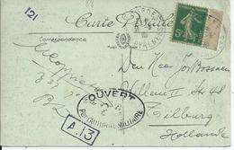 Carte Vue De Lourdes Avec 5c Semeuse Envoyé Vers Les Pays Bas - Marque De Censure - Marcophilie (Lettres)
