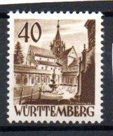 Wurttemberg /  N 35 / 40 Pf Brun / NEUF Avec Trace De Charnière - Wurttemberg