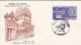 33-- -BORDEAUX  14-avril 1972--exposition Philatelistes-posiers Philatelistes--voir 2 Scans - Marcophilie (Lettres)