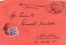 """R124- Busta Del 1944 Da Verona (sede Comando Regg.to Volont. Bers. """"Benito Mussolini"""" A Mestre -in """"Franchigia Postale"""" - 4. 1944-45 Repubblica Sociale"""