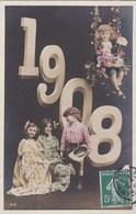 CPA   BONNE ANNEE 1908   Enfants élégants  Balançoire Timbre 1907 - Nieuwjaar