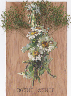 """Carte """"Bois"""" Avec Collage Chromo & Herbes Séchées - Message """"Bonne Année""""  Circulé Sans Date - Cartes Postales"""