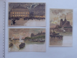 Chocolat LOMBART: PARIS Illustrateur LUIGI LOIR Lot 3 Cartes Postales Même Série - L'Opéra Abside Notre-Dame Tuileries - Publicité