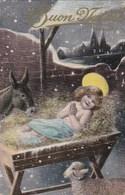 CPA Joyeux NOEL  BUON NATALE  JESUS Dans La CRECHE ANE Et MOUTON Sous Les ETOILES Timbre Italien 1909 - Christmas