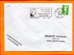 NIEVRE, Nevers, Flamme SCOTEM N° 10732, Jules Renard Et La Nièvre, Mai-juin 1990 - Marcofilie (Brieven)