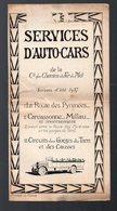 SERVICE D'AUTO CARS DE LA CIE DES CHEMINS DE FER DU MIDI, Horaires Itinéraires 1927 (PPP8992) - Europe