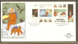 1999 - Netherlands FDC E407 Blanco - Comic Characters - Kuifje En Bobbie, Haddock, TinTin (block) [NL409_01] - FDC