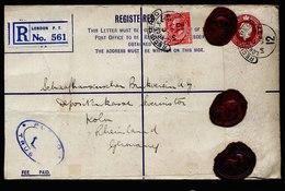 A5579) UK Grossbritannien R-Brief Mit Zusfr. London 14.01.27 N. Koeln / Germany - 1902-1951 (Könige)