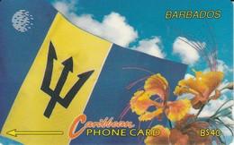 TARJETA DE BARBADOS DE LA BANDERA Y UNA FLORES ( 15CBDC) FLOR-FLOWER-FLAG - Barbados