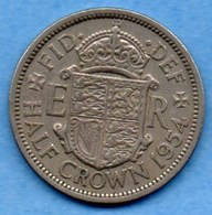 (r65)  GREAT BRITAIN / GRANDE BRETAGNE  1/2  HALF CROWN 1954  ELIZABETH II - 1902-1971 : Monedas Post-Victorianas