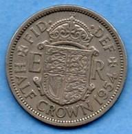 (r65)  GREAT BRITAIN / GRANDE BRETAGNE  1/2  HALF CROWN 1954  ELIZABETH II - K. 1/2 Crown