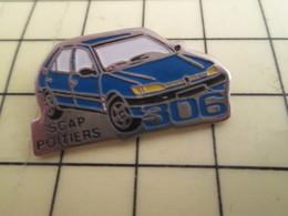 313f Pin's Pins / Beau Et Rare : Thème AUTOMOBILES / PEUGEOT 306 BLEUE SCAP POITIERS - Peugeot
